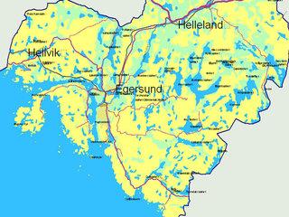 Kart over Eigersund kommune