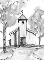 Maridalen kirke Tegning: Frances Dodman