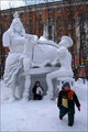 Snow sculpture piano player in Murmansk