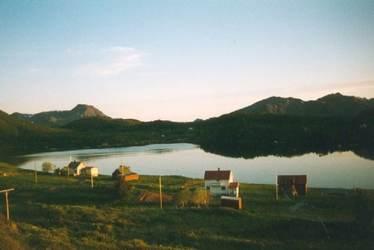 Midtsommernatt over Skorpa ca. 1996. Originalbildet er lånt av Arne Iversen