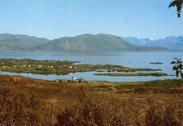 Bø prestegård midt i bildet ca. 1975 Bilde utlånt av Harald Larsen