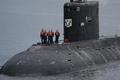 Crew on submarine deck