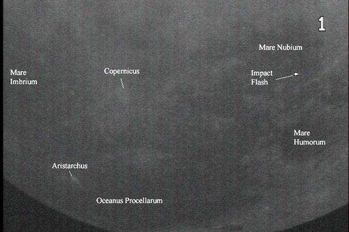 Meteoride på månen med labels