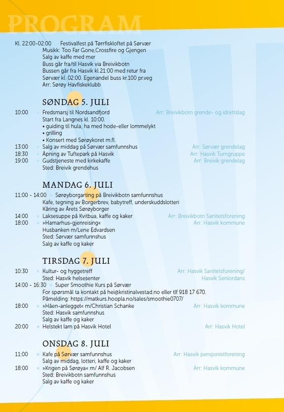 Program for Sørøysommer 2015