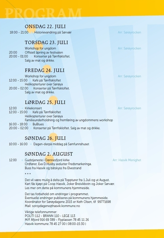 Program for Sørøysommer 2015