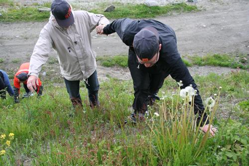Trugeklatring i bratt bakke: Henrik Jostad ( t.h) må hjelpe faren Jarle opp den siste biten. (Foto: Ingebjørg Jensen)