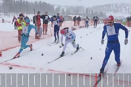 Målgången på Orsa Grönklitt Ski Marathon där Anders Solin tog segern före Oscar Persson och Robin Bryntesson. FOTO: Arrangören.