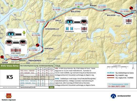 Kart over strekninga Arna-Voss