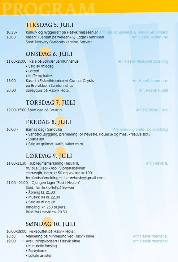 Program for Sørøydagene 2016