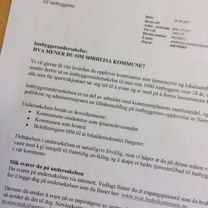 Utsnitt av brev om innbyggerundersøkelse[1]