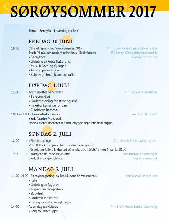 Program for Sørøysommer 2017