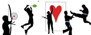 Collage som viser bueskyting, badminton, kunstmaling og karate