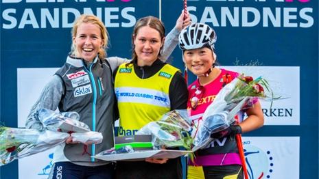 Britta Johansson Norgren vann i fjol före Astrid Öyre Slind och Masako Ishida. I år kommer dock inte Britta till start. FOTO: Rune Helliesen.