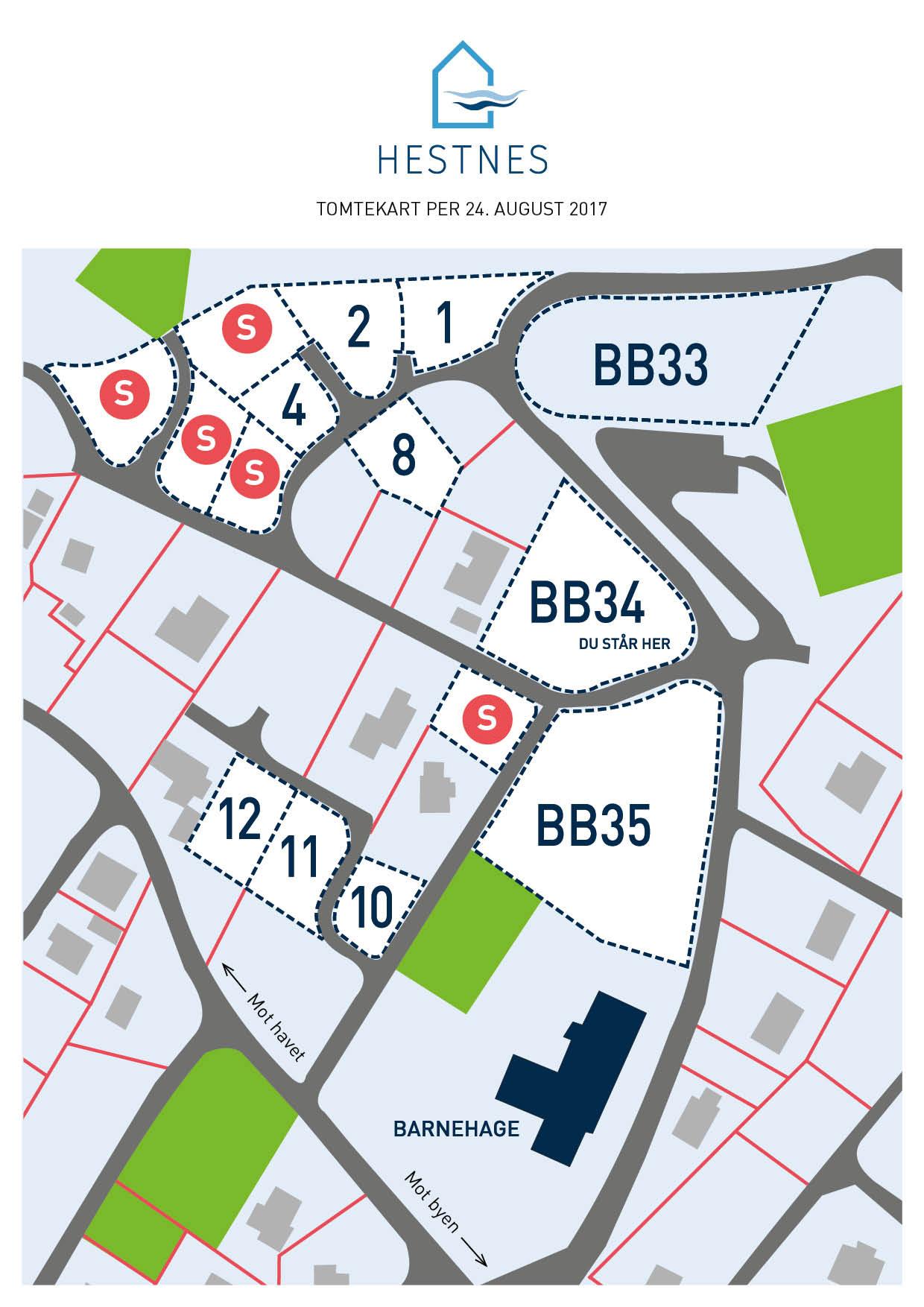Kart over ledige tomter i Hestnes
