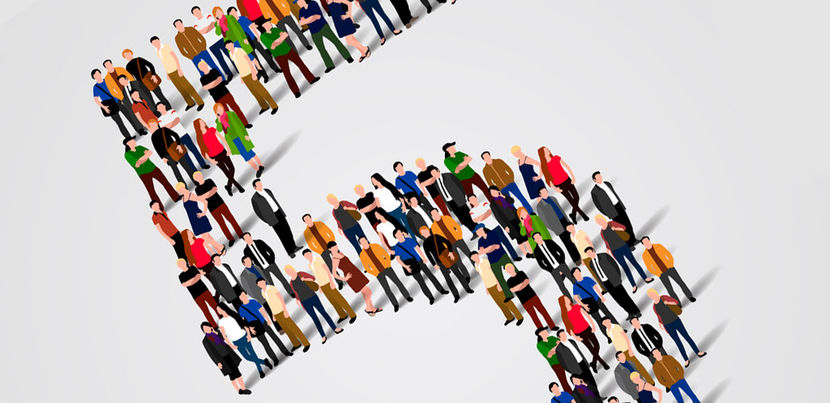 46955127 - large group of people in number 5 five form. vector illustration