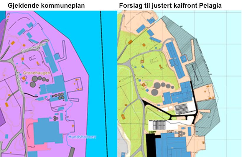 Kart over forslag for Kaupanes