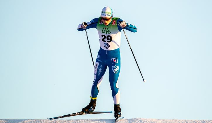 Martin Bergström får iklädda sig den svenska landslagsdräkten vid världscupsprinten i Davos på lördag. FOTO: Johan Axelsson/Bildbyrån.