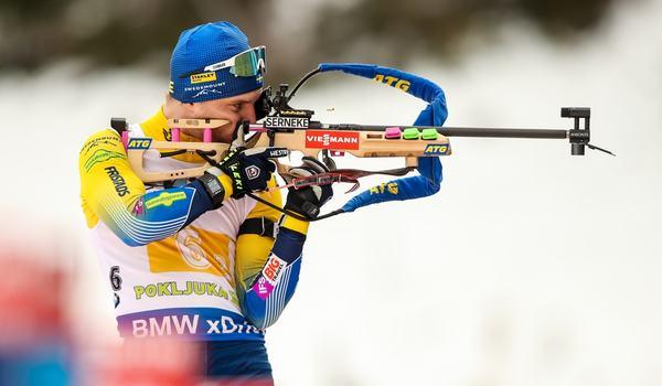Jesper Nelin åkte tredje sträckan för Sverige vid mixedstafetten i Pokljuka, Slovenien. FOTO: GEPA pictures/ Matic Klansek.
