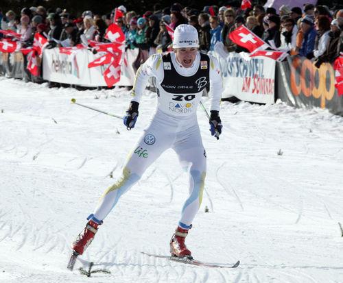 TEODOR PETERSON är en av fyra herrsprinters som åker de fyra första etapperna av Touren. Här från Davos. Foto: STEPHAN KAUFMANN, www.kristiansen-sport.com