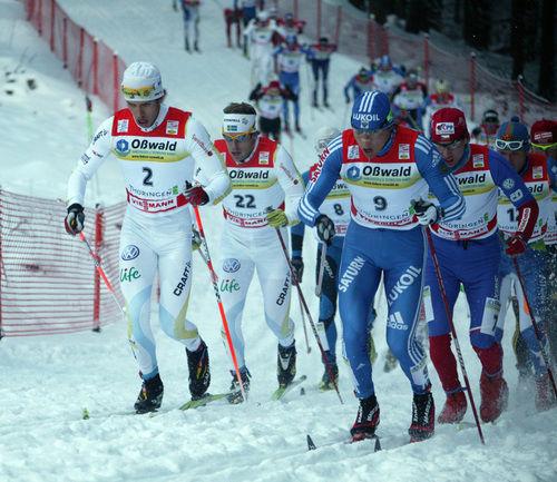 ALEXANDER LEGKOV (t h) sida vid sida med Marcus Hellner i Oberhof. Så blir det inte i Toblach. Legkov och Vylegzhanin är sjuka och åkt hem. Foto: MOA MOLANDER KRISTIANSEN