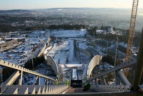 Utsikt fra hopptårnet i Holmenkollbakken