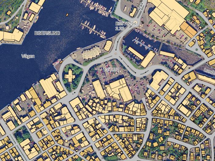 Kart og oppmåling, kart over Egersund sentrum