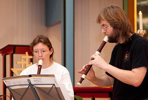 Katharina v.d. Herberg og Georg Kim Jensen spilte fløyte
