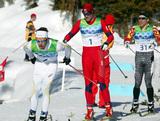 PETTER NORTHUG vann sitt första individuella OS-guld. Marcus Hellner jobbade kopiöst för det svenska laget.