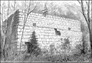 Kruttverket ved Skar. Tegning: Målfrid Voll