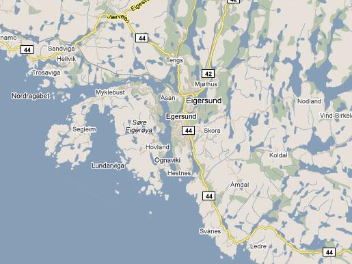 Kart over Eigersund