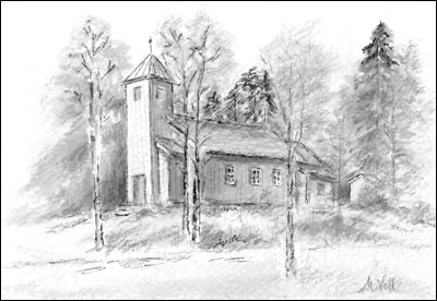 Maridalen kirke. Tegning: Målfrid Voll