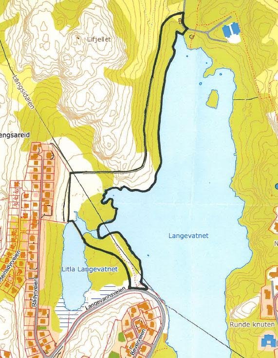 Kart over Langevatn