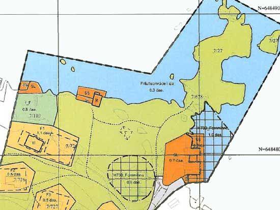 Kart - Våningshus og driftsbygning på Leidland
