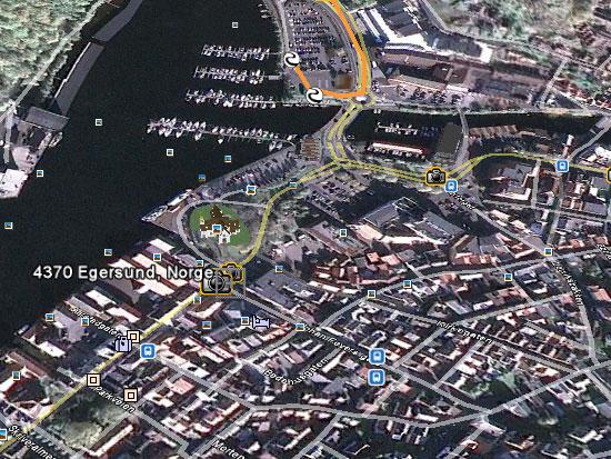Google Earth kart over Egersund