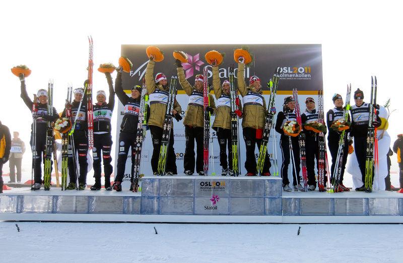 Nordisk skidkamp när den är som bäst: Alla tre länder på pallen i ett VM. Foto: NordicFocus