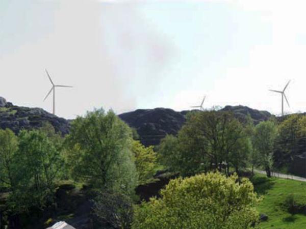 Egersund vindpark. Vindparken sett fra Åmdal