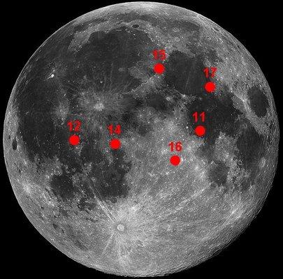 De 6 landingsplassene på Månen