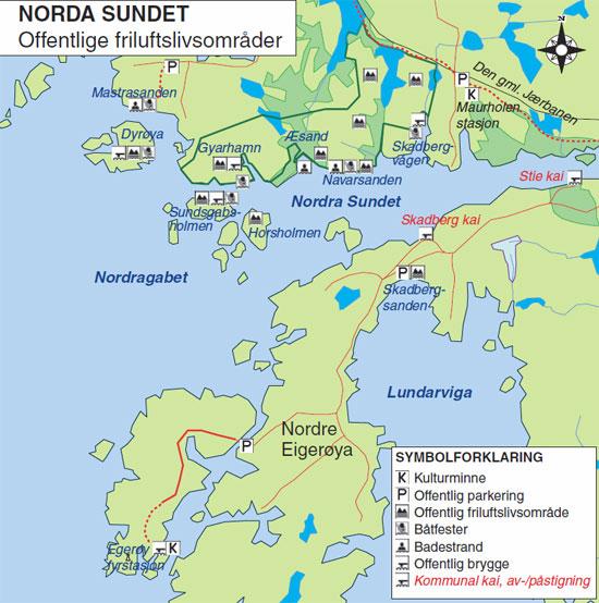 Kart over Norda Sundet