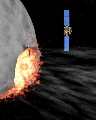 En artists fremstilling av kollisjonen med asteroiden
