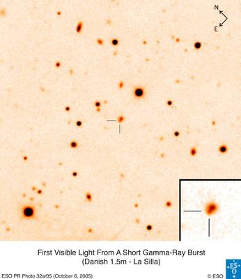 Første optiske etterglød av korte gammaglimt
