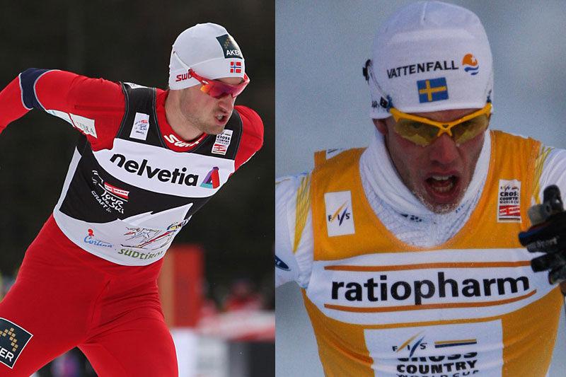 Petter Northug och Marcus Hellner möte inte bara i spåret i helgen. De ska också träffas i Vinterstudions soffa. FOTO: NordciFocus.