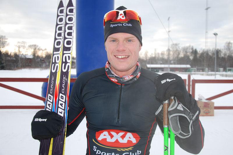 Jimmie Johnsson blir säkert en av segerkandidaterna i nya AXA Ski Marathon. Här är Jimmy vid segern i Intersportloppet i Mora i vintras. FOTO: Johan Trygg.