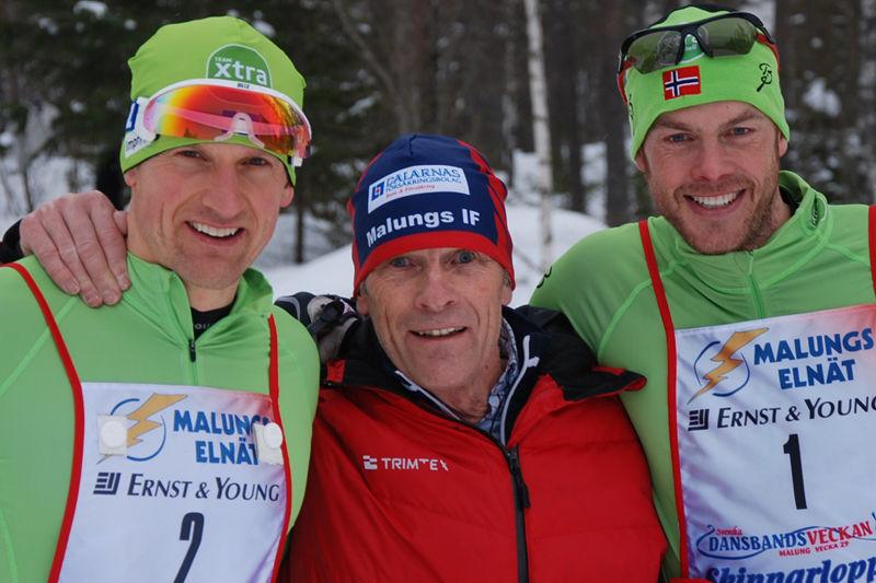 Jerry Ahrlin och Jörgen Auklands team byter namn till Team Centric. Här är duon med Evert Ryen på Skinnarloppet i vintras. FOTO: Johan Trygg.