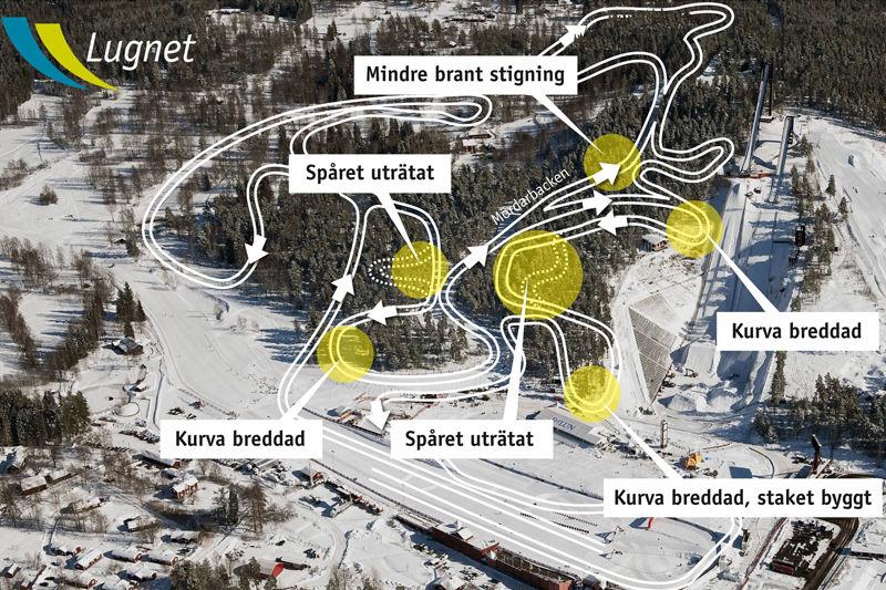 Skiss över de nya tävlingsbanorna vid Lugnet, med justeringar sedan SM-veckan. FOTO: Ulf Palm. Grafik: Lugnet.