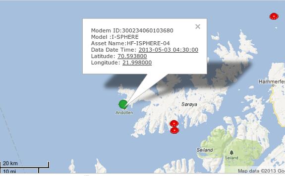 Kart over området der bøyen befinner seg