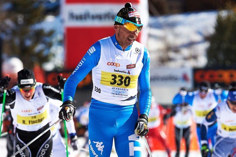 Välmeriterade veteranen Cristian Zorzi kommer till Alliansloppet med sitt Team Rossignol. Här vid andraplatsen på Engadin Skimaraton i vintras. OTO: Felgenhauer/NordicFocus.