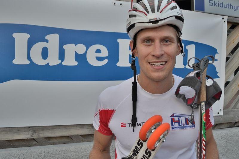 En glad segrare i Idre. Stockviksåkaren Anders Svanebo. FOTO: Johan Trygg.