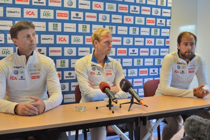 Per Pliggen Andersson, Daniel Richardsson och Rikard Grip på dagens presskonferens. FOTO: Johan Trygg.