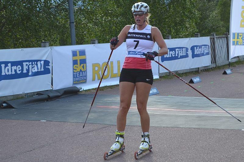 Maria Nordström, Ulricehamn har tagit plats i truppen till VM på rullskidor. Här är Maria vid Idre Fjäll Hill Climb. FOTO: Johan Trygg.