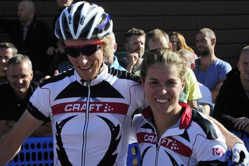 Maria Pietilä Holmner och norska cyklisten Ole Christian Fagerli från CykelVasasprinten 2011. FOTO: Vasaloppet.